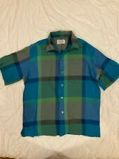 New listing Vintage Bon Marche Man's Store Shadow Plaid Loop Collar Short Sleeve Shirt