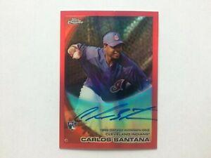 2010 Topps Chrome Red Autograph #198 Carlos Santana Rookie Card RC (04/25)