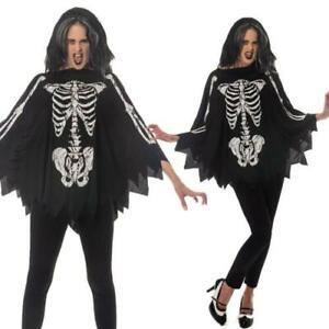 Vampire Bat Costume Skeleton Bat Halloween Fancy Dress Poncho Cape Ladies Adult