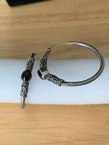 Sterling Silver Hoop Earrings With Onyx Stones Vintage