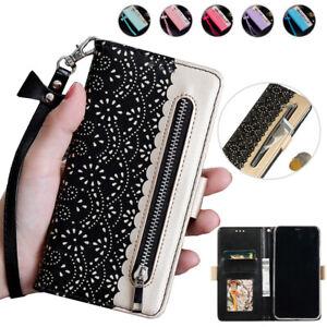 For Samsung S21+ S20 FE Ultra S10e S9+ S8+ Zipper Wallet Case Leather Flip Cover