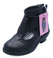 GIRLS CHILDRENS BLACK PARTY ZIP KIDS LOW HEEL GLITTER BOOTS PARTY SHOES UK 8-3
