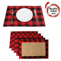 2pcs Red & Black Buffalo Plaid Placemats Dining Table Mat Christmas Home Decor