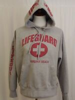Vintage Lifeguard Hoodie Virginia Beach Size L Gray Red Officially Licensed
