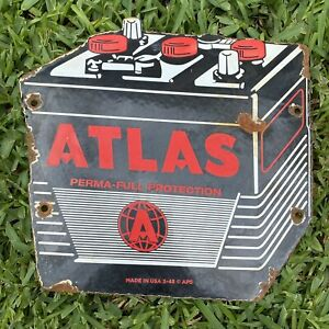 Vintage 1948 Atlas Battery Porcelain Metal Service Station Car Auto Gas Oil Sign