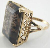 1974 dramatic smokey quartz 11cts ring 9CT gold ring size O 8.69g