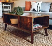 Retro Coffee Table Mid Century Modern Side Table TV Stand Magazine Shelf Rack