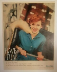 Tampax Tampons Vintage Print Ad Red Head Woman Pretty Sexy Carnival Ride No 51