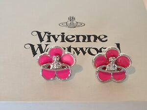 Vivienne Westwood Pink Flower Orb Earrings New with Box