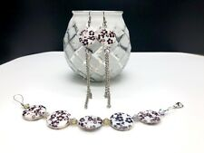 and Matching Dangle Earring Jewelry Set Handmade Classy Floral & Silver Bracelet