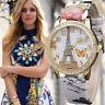 Moda Mujer Torre Acero Inoxidable Cuero Cristal Diamantes de Chica Relojes