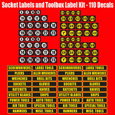 Socket Label and Toolbox label combo decal set.  Stickers for sockets, toolboxes