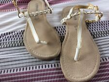 Ladies White And Gold T Bar Sandals Size 39 (6)