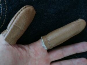 Genuine Leather Thimble Set ~ Thumb & Finger Guard Quilting, Hand Sewing Felting