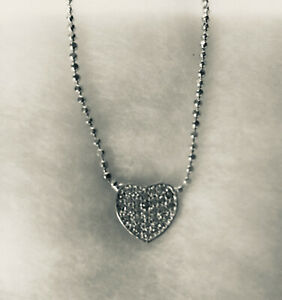 Sterling (925) Silver Micro Pave set Cubic Zirconia Heart Pendant and Chain