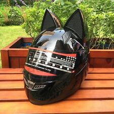 Black Motorcycle Cat Ear Helmet Full Open Face Visor Flip Up Medium