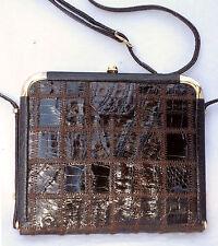 Feine  Krokodilleder Schultertasche IRV schokoladenbraun braun Handtasche Tasche