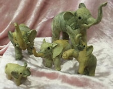 CarvEd Elephant Family Lot 5 Wood? Marbled Good Luck Fortune Decorative STRENGTH