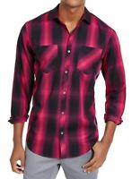 INC Mens Leo Shirt Black Pink Size XL Plaid Dual-Pocket L/S Button Down $65 026