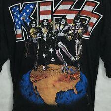 Vintage Kiss Alive World Tour T-Shirt Sz XL Distressed Faded 1996 Black Gund