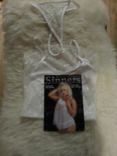SINNERS - WOMENS EMBROIDERY BABY DOLL SET - ONE SIZE - BLACK OR WHITE
