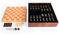 Chess Checkers & Backgammon Wood & Leather Travel Board Game - Deluxe Set NEW