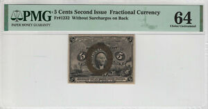 5 CENT SECOND ISSUE FRACTIONAL CURRENCY FR.1232 W/O SURCHARGE PMG CHOICE UNC 64