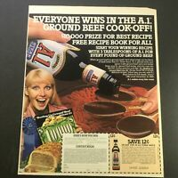 VTG Retro 1981 Brand's A1 Steak Sauce & Personalized Tree Glitters Ad Coupon