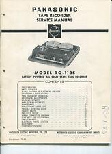 Vintage Panasonic SERVICE MANUAL- Model RQ-113S Tape Recorder- Reel To Reel