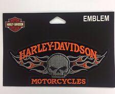 Genuine Harley Davidson Skull Flames Orange & Grey Emblem EM164642