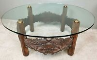 Vtg Spanish Revival Hand Carved Oak + Glass Top Cocktail Coffee Center Table