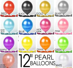 "Pack of 100 18"" 12"" 10"" 5"" Plain/Pearl LATEX BALLOONS helium BALOON Party BALLON"