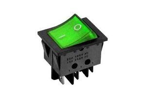 Interruttore a bilanciere 220V 16A bipolare con tasto verde luminoso 32x25 1253