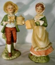 "Pair of Lefton Porcelain Bisque figurines 7 3/4"" #469 Boy & Girl W bird cages"