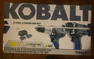 New Old Stock 18 Volt Kobalt 2 Tool Lithium Ion Kit Sold With No Returns .