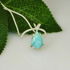 12x8 Pear Genuine Larimar Sterling Silver Pendant w/Chain Necklace (#42)