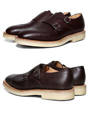 MARK MCNAIRY GRAIN LEATHER DOUBLE MONK STRAP SHOES UK 11 US 12 MADE IN ENGLAND