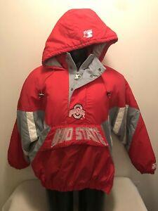 Vintage Ohio State University Buckeyes Starter Hooded Pullover Jacket Mens Large