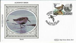Alderney 1984 Benham Silk Birds Dunlin FDC.Pictorial HS