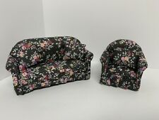 Dollhouse Miniature Sofa / Couch with Armchair Floral Pattern 1/12 Scale Couch