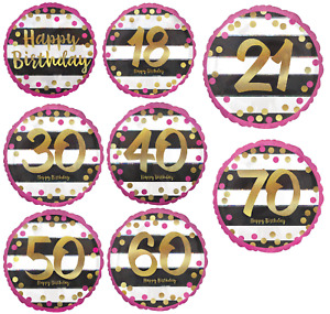 """18"""" Foil Balloon Helium Birthday Party Decoration Pink Gold Black White All Ages"""