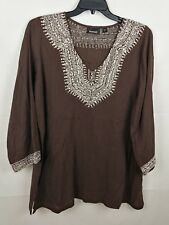 Swim by Avenue Woman's Swimsuit Plus Cover Up Brown Beaded 14/16 NEW