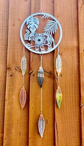 Wind Chime Spinner Dream Catcher Elephant Mirror Metal Garden Home Porch Indian