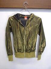 EUC! Nike Athletic Department Windbreaker Jacket Shiny Gold ripstop nylon sz XS