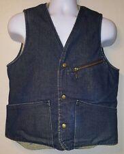 Vintage Mens Size S Carter's Watch The Wear Blue Denim Sherpa Vest Lebanon NH