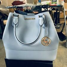 NWT Michael Kors Trista Large Grab Bag Leather Tote Pale blue/Navy