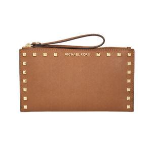 NWT Michael Kors Sandrine Stud Large Zip Wristlet Luggage Leather Clutch