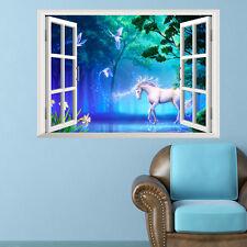 Unicorn Fantasy 3D Window View Decal WALL STICKER Art Mural Legendary Animals