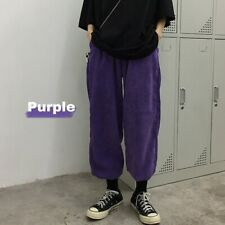 Women Corduroy Pants Retro Purple Trousers Loose Elastic Waist Harajuku Casual