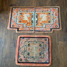 "Antique ""Ta-Den"" Tibetan Chinese Horse Saddle Traditional design Rug Carpet Set"